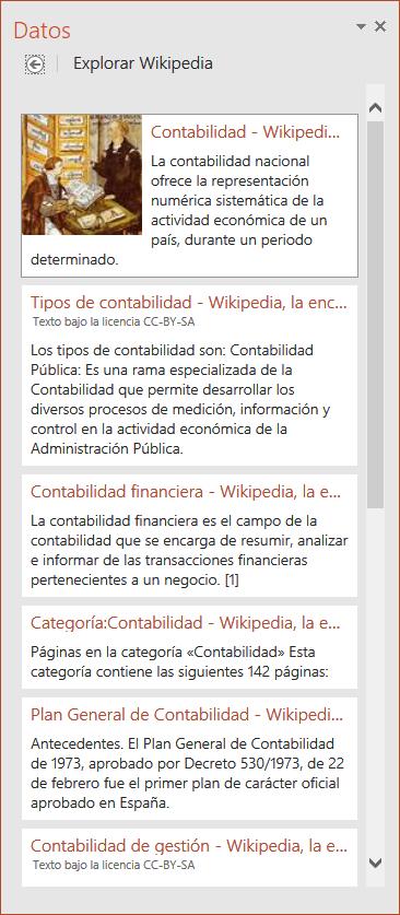 Panel datos, con resultados de explorar Wikipedia ampliados.