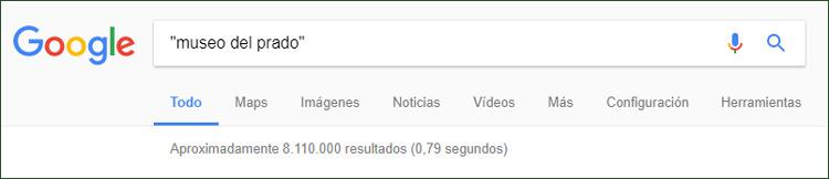 Cuadro de búsqueda de Google con el texto museo del prado entre comillas
