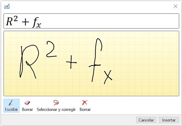 Ventana de entrada de lápiz de ecuación.