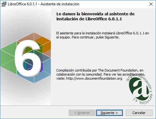 Ventana de bienvenida de LibreOffice