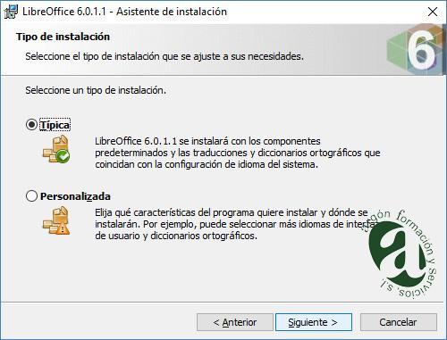 Ventana de tipo de instalación de LibreOffice