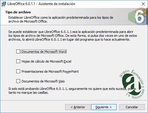 Ventana de tipo de archivo de LibreOffice
