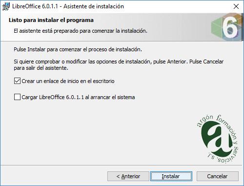 Ventana de opciones de arranque de LibreOffice