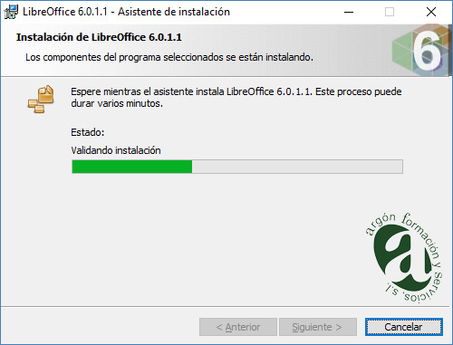 Ventana de validando la instalación de LibreOffice