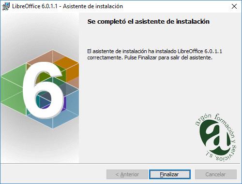 Ventana de finalización de la instalación de  LibreOffice