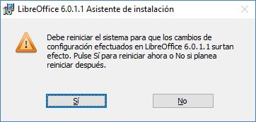 Mensaje de reiniciar el sistema de LibreOffice