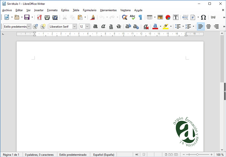 Ventana de Writter (Word) de LibreOffice