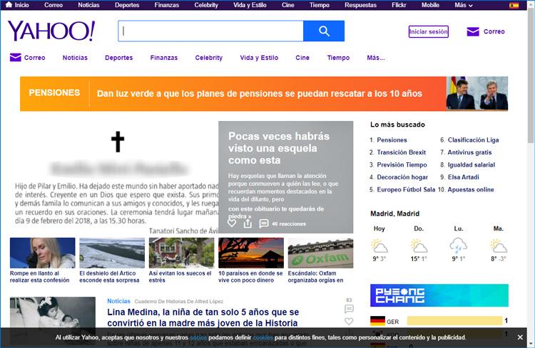 Ventana del buscador Yahoo
