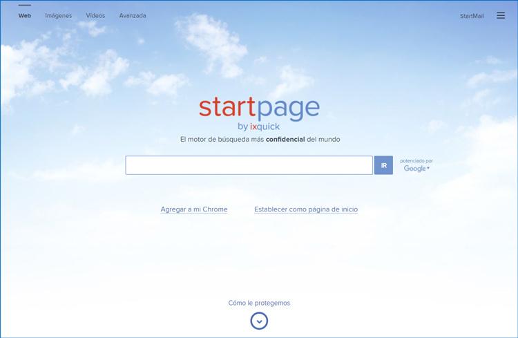 Ventana del buscador startpage Ixquick