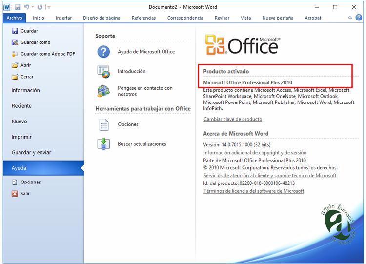 Ventana información del producto Word 2010